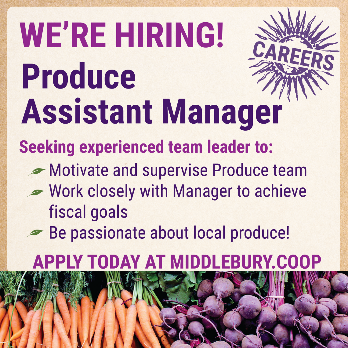 Carrots and beets decorating a job listing for produce assistant manager